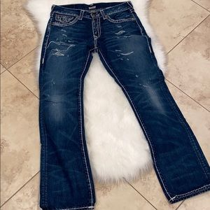True Religion Ricky Relaxed Straight 32 distressed